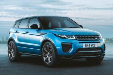 Blue Range Rover Evoque on road