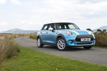 Mini hatchback in sky blue