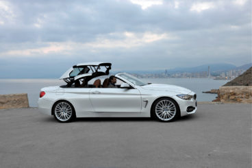 BMW 4 Series Convertible roof half way down