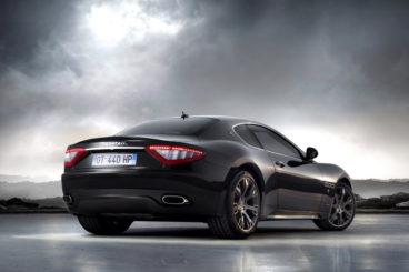 Maserati Granturismo back view cloudy sky