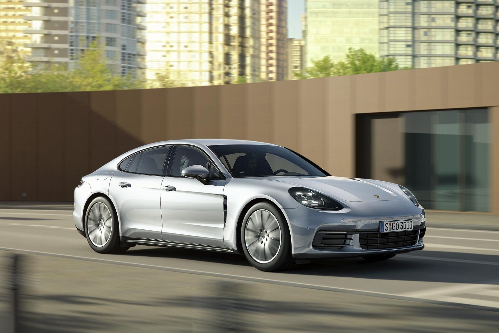 Silver Porsche Panamera driving