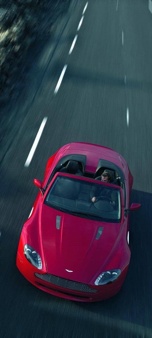 Aston Martin V8 Vantage Roadster in red birds eye view