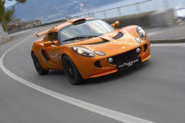 2017 Orange Lotus Exige Front on the road