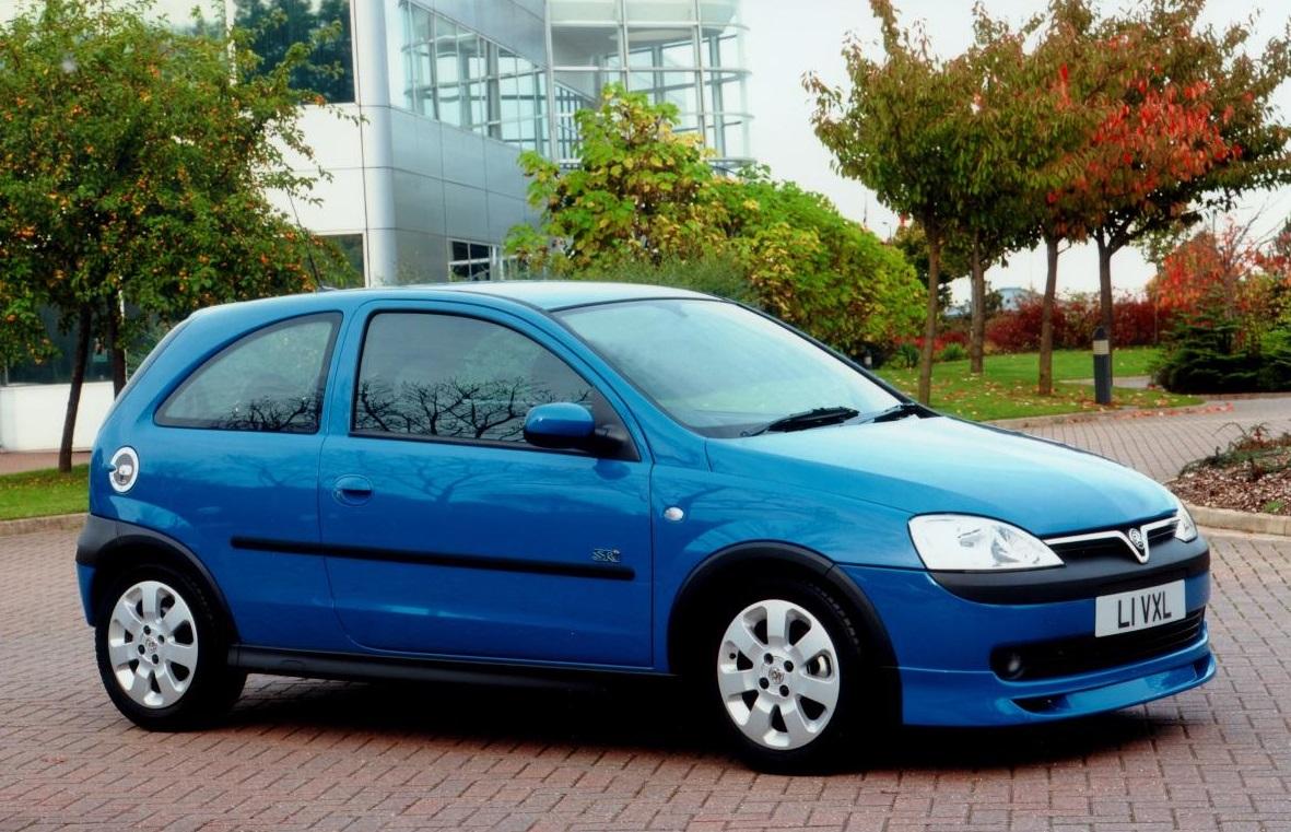 Light blue metallic Vauxhall Corsa