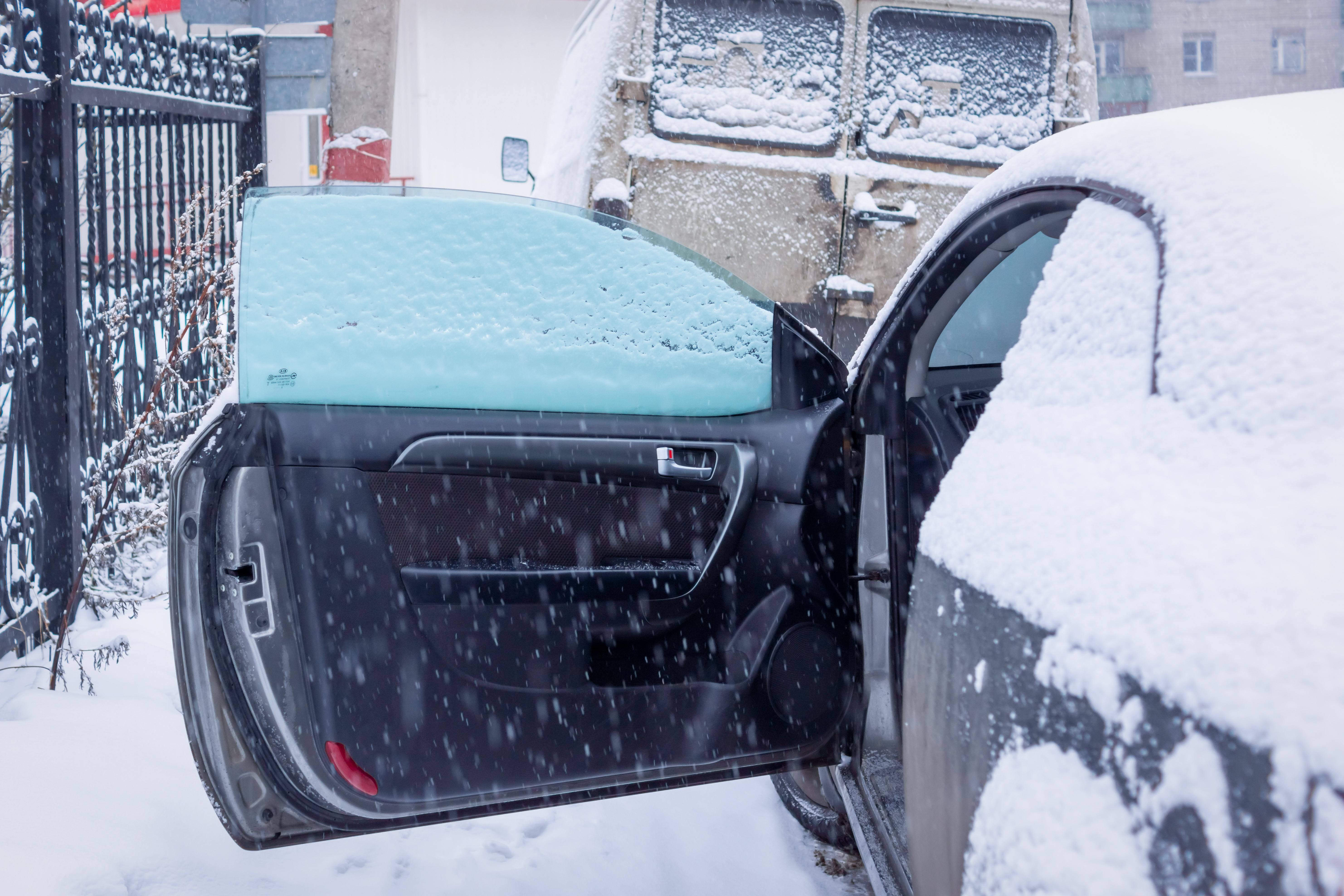 Car door open in snow