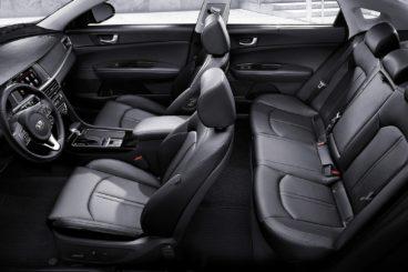 the black interior of the Kia Optima Interior