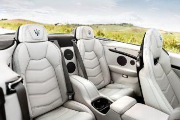 the white leather interior of the Maserati GranCabrio Convertible