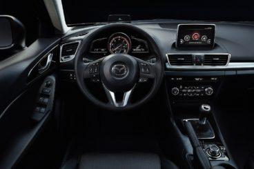 black leather interior of the mazda 3 hatchback