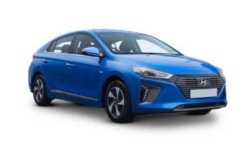 Blue Hyundai Iconiq hatchbakc on white background