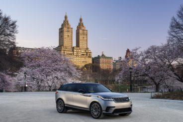silver range rover velar in picturesque New York Setting