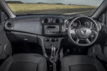 the black cloth interior of the dacia sandero hatchback