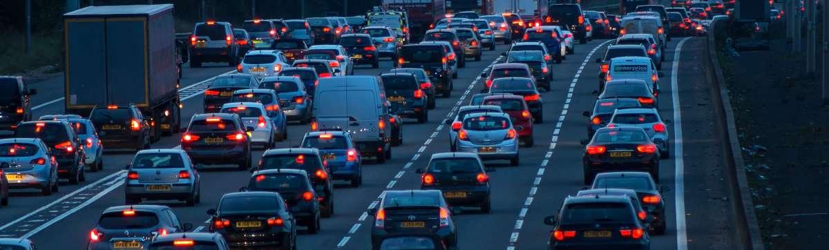 Traffic on motorway in Watford, UK